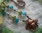 Necklace with Copper Bee and Colorful Flower Beads
