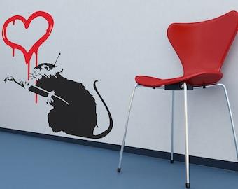 Banksy Love Rat Wall Stickers