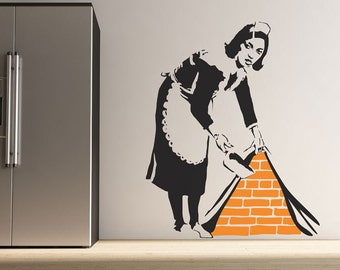 Large Banksy Maid Sweeping Wall Stickers
