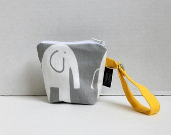 BagEnvy Handbags' Pacifier Pouch - Binky Pouch - In Elephants in Grey and Yellow - Or Custom Made To Match your Diaper Bag