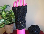 Speckled Black  Fashion SNUGGIES Fingerless Gloves Wrist Warmers in Assorted SIZES