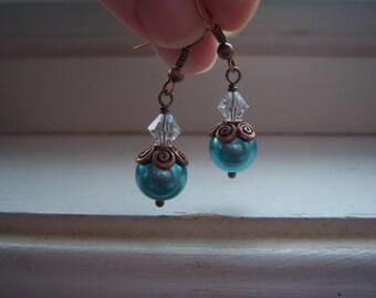 Pearl Earring - Turquoise Earrings - Wedding Earrings