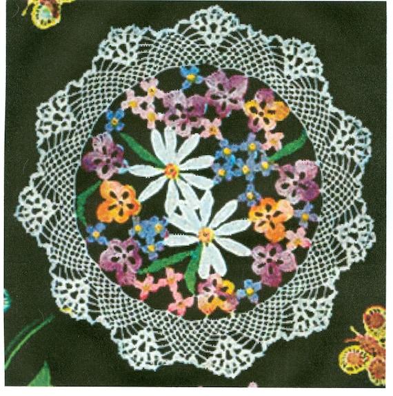 Flower Bouquet Doilie Doily Crochet Pattern 3 Sizes PDF Instant Download