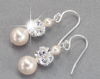 Wedding Earrings, Pearl Dangle Earrings, Wedding Jewelry for the Bride, Pearl and Rhinestone Bridal Earrings