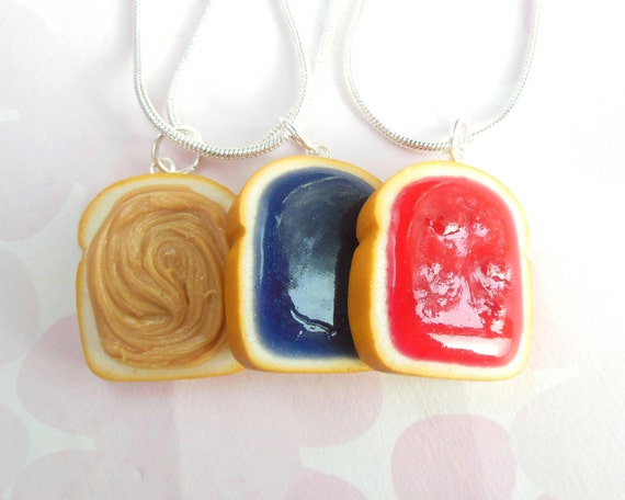 Polymer Clay Set of 3 BFF pb and J, Peanut butter and Jelly, Best friend, Friendship Necklaces, Food Jewelry strawberry grape