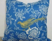 Pheasant Toile Pillow Cover in blue, white and yellow - 18 inches with zipper closure