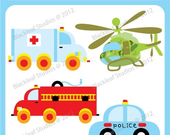 Rescuers Vehicles Digital File Clip art - ambulance, helicopter, police car, fire engine, logo - Personal and Commercial Use Clipart