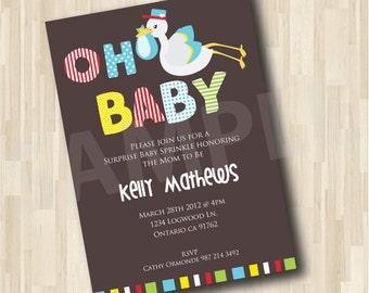 Baby Shower Invitation- Stork carrying a Baby Invitation DIY Printable Party Invitation 5x7