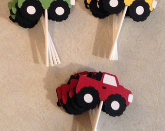 Monster Truck cupcake toppers - Party Supplies, Cake decorations