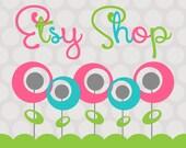 "Etsy Shop Banner Avatar Set - Premade Etsy Design Package - Flower Banner ""Sweet Pink Poppies Design"""