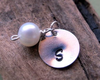 Pearl Charm with Initial Disc - Sterling Silver Hand Stamped Pendant - Personalized Tag with Freshwater Pearl. Date Pendant. Pearl Pendant