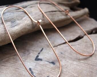Oval Hoop Earrings. Handmade Copper Ear Wires. Artisan Jewelry Supplies