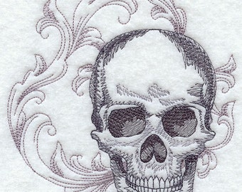 BAROQUE SKULL - Machine Embroidered Quilt Blocks (AzEB)
