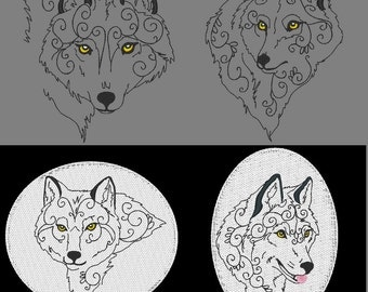 MYSTICAL WOLVES - 60 Machine Embroidery Designs Instant Download 4x4 5x7 6x10 hoop (AzEB)