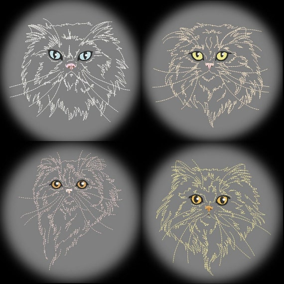 PURR-FECT PERSIANS  - 30 Machine Embroidery Designs Instant Download 4x4 5x7 6x10 hoop (AzEB)