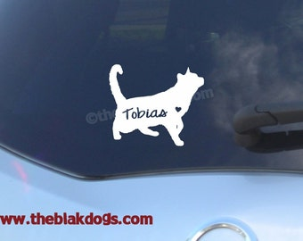 Short haired Cat Silhouette Vinyl Sticker Car Decal Personalized