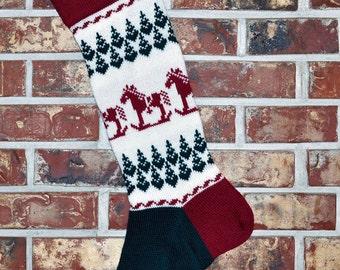 2016 Personalized Knit Christmas Stocking, 100% Wool - Rocking Horses