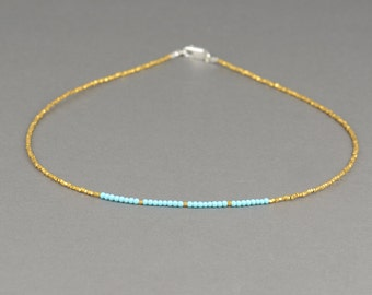 Vermeil gold Sterling silver and turquoise necklace