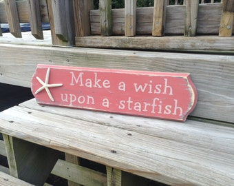 Beach Sign Make A Wish Upon A Starfish Baby Nursery Coastal Decor CORAL