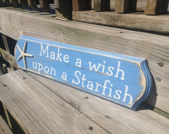 Beach Sign Make A Wish Upon A Starfish Nursery or Coastal Decor