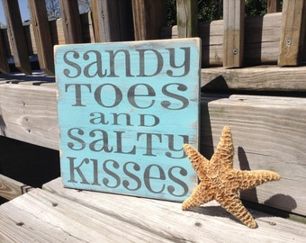 Sandy Toes and Salty Kisses Beach Sign nautical Coastal Nursery Decor