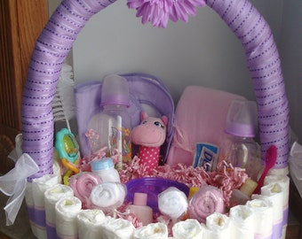 Purple and Pink Personalized diaper basket
