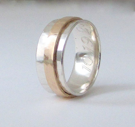 Mens Wedding Band Gold 14k Gold Spinner Ring Mens By