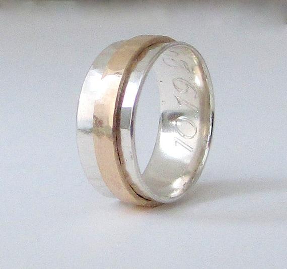 mens wedding band 14k gold spinner ring mens by silversmack. Black Bedroom Furniture Sets. Home Design Ideas