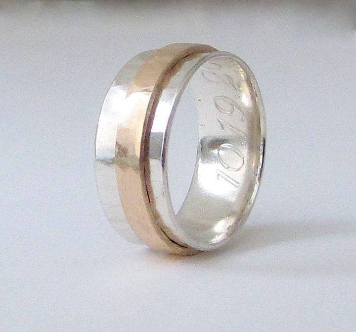 Mens Wedding Band 14k Gold Spinner Ring Mens by SilverSmack