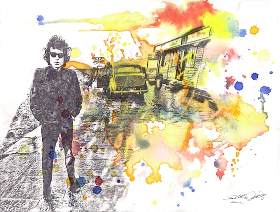 Bob Dylan No Direction Home Art Watercolor Painting - Original Watercolor Painting 8.5 X 11 in.
