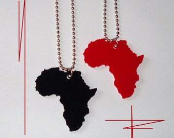Africa Necklace Acrylic Pendant, Africa Jewelry Pick Black or Red
