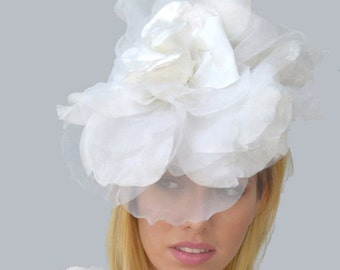 Couture Bridal White Rose Fascinator