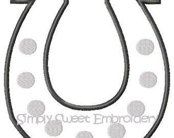 Horseshoe Machine Embroidery Applique Design
