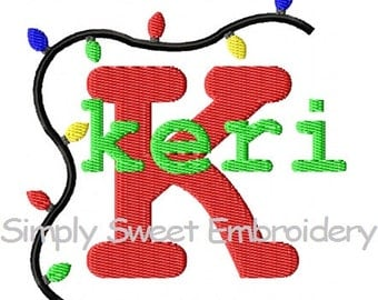 Christmas Lights Monogram Font Set Machine Embroidery