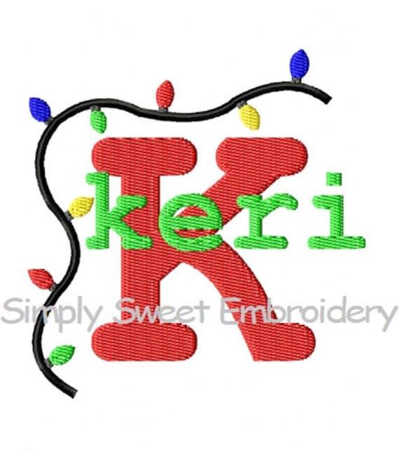 Christmas Lights Monogram Font Set Machine Embroidery
