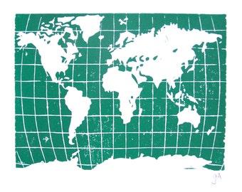 LINOCUT PRINT - world map - turquoise green letterpress poster 8x10