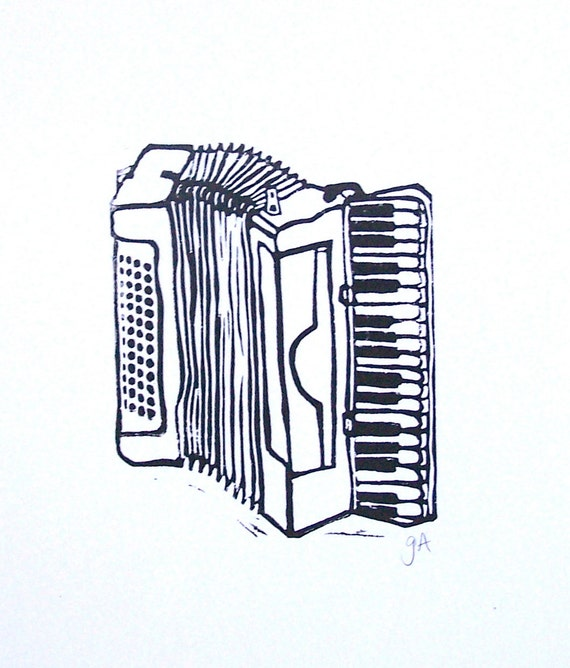 PRINT - Black accordion linocut 8x10
