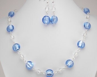 Necklace & Earring Set - Light Blue and Clear - Silver Foil Lined