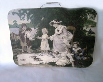 vintage shabby chic large picnic scene picture in muted colors with scalloped edge and wire/wooden hanger