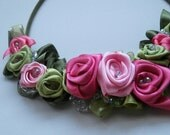 Custom Order - Satin Roses Necklace