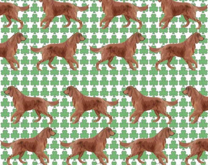 Irish setter with shamrocks fabric