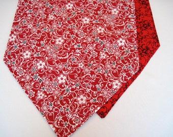 "Red Table Runner 36""-54"" Reversible Modern Black White and Red Floral tTable Runner"