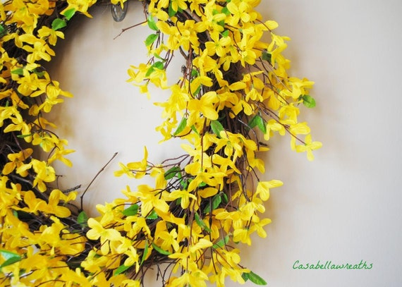 Yellow Forsythia Wreath Summer Door Wreath Spring Wreath