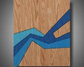 """Water Flow: Original Abstract Art on Solid Red Oak Panel - Pyrography - Prismacolor Pencil - Blue - 11.25"""" x 14"""""""