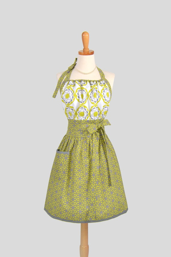 Cute Kitsch Retro Apron . Full Kitchen Womens Apron Handmade Chartreuse and Gray Kimono Asian Design Fabric