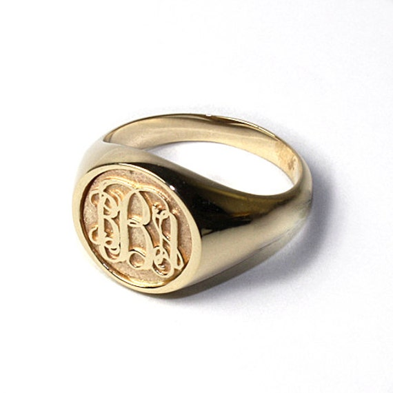 K Gold Script Name Ring