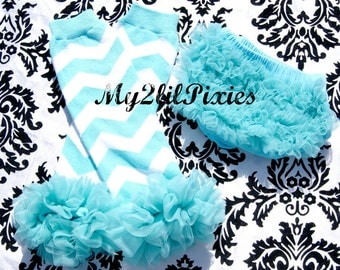 Turquoise Chevron Legwarmers With Ruffles and Chiffon Ruffle Bum Baby Bloomer Diaper Cover  SET- Photo Prop- My2lilPixies