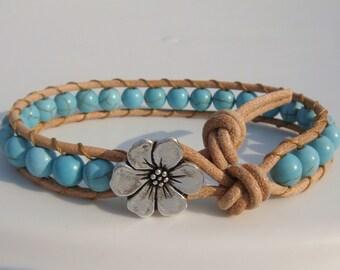 Turquoise Magnesite Beaded Leather Bracelet, Flower Button
