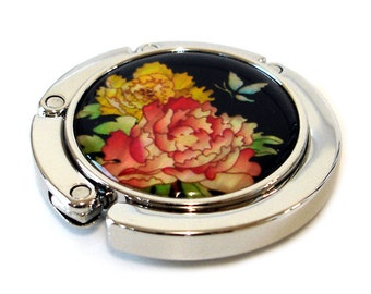 Mother of Pearl Red Yellow Peony Flower Design Foldable Table Purse Caddy Handbag Holder Hanger Hook
