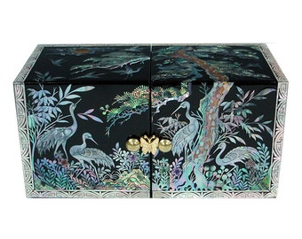 Mother of Pearl Inlay Lacquer Crane Pine Design Green Twin Cubic Wooden Jewelry Trinket Treasure Keepsake Chest Box Case Holder Organizer
